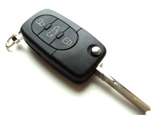 Se adapta a Audi A2 A3 A4 A6 A8 TT 3 botón remoto CLAVE FOB CASO toma CR2032 Batería