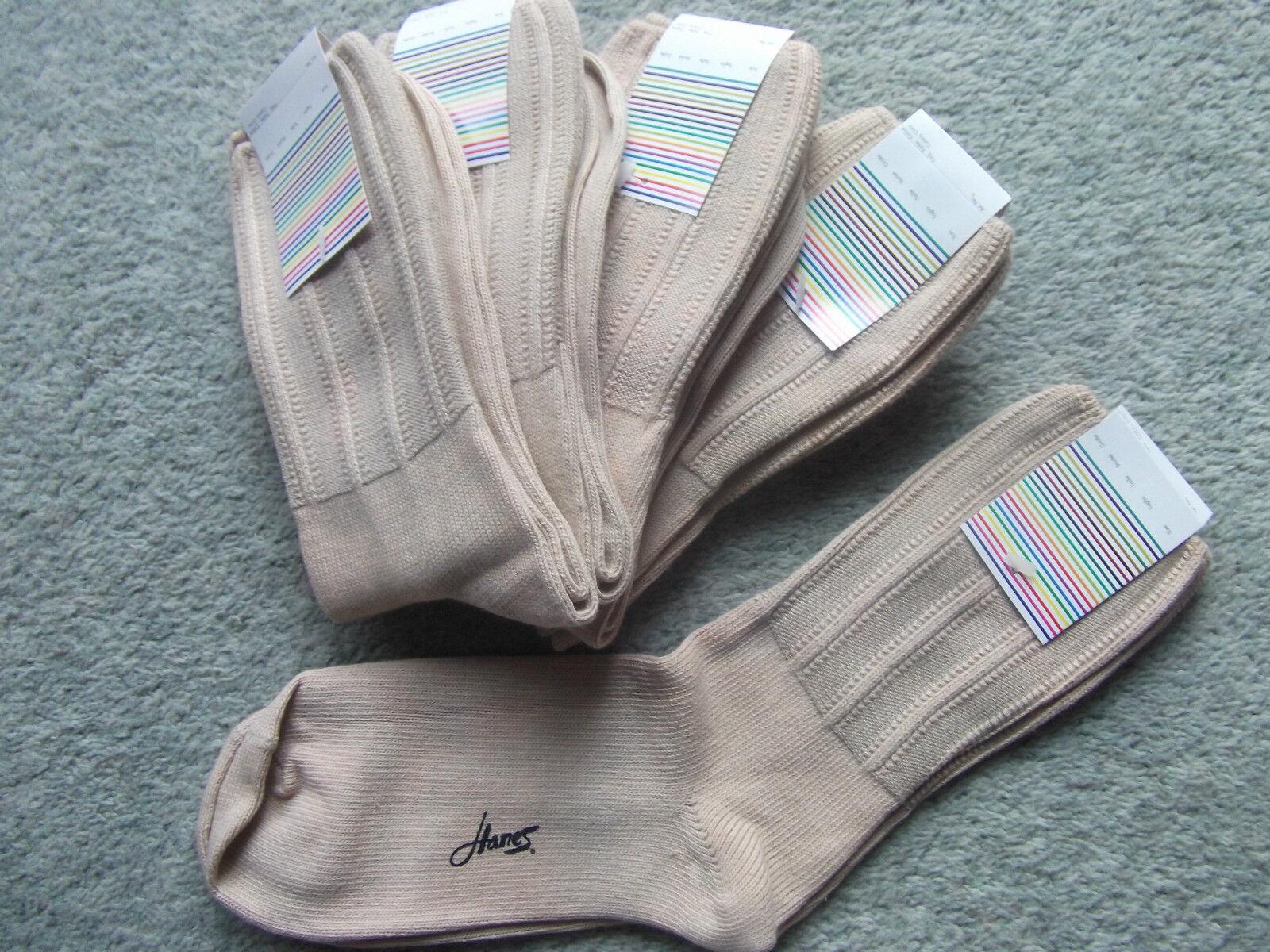 Sockenpaket 10 Paar Socken Strümpfe Baumwolle Beige Hanes Gr.39-42 NEU
