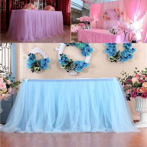 UK 6ft Wedding Tulle Tutu Table Skirt Party Birthday Festive Baby Shower Decor