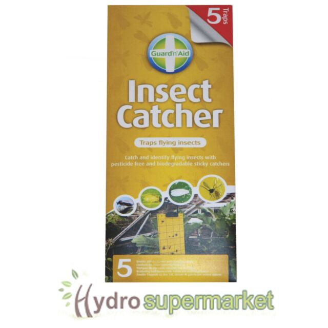 GUARD'N'AID STICKY INSECT CATCHER TRAPS, FUNGUS GNAT BLACK FLY PACK OF 5