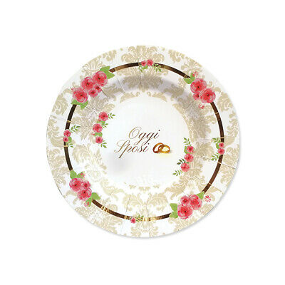 Bello Piatti Piccoli In Carta Romantic Wedding Cm 20 Conf. 8 Pz Matrimonio Feste Party