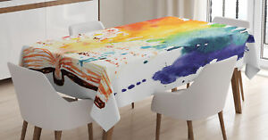 watercolor tablecloth open book colors rectangular table cover 60 x