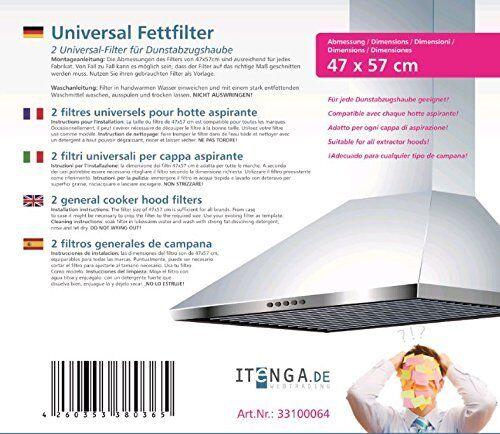 2 xitenga Universal nebbia FILTRO grasso filtro da tagliare per cappa aspirante