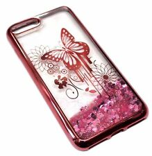 For iPhone 7 PLUS - Rose Gold Butterfly Hearts Glitter Sparkle Liquid Water Case