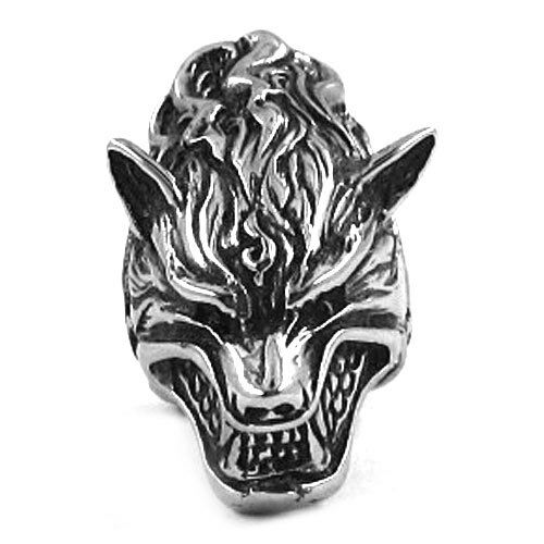 Wolf Biker punk rocker Gothic anillo anillos de acero inoxidable cabeza de lobo 3d nuevo