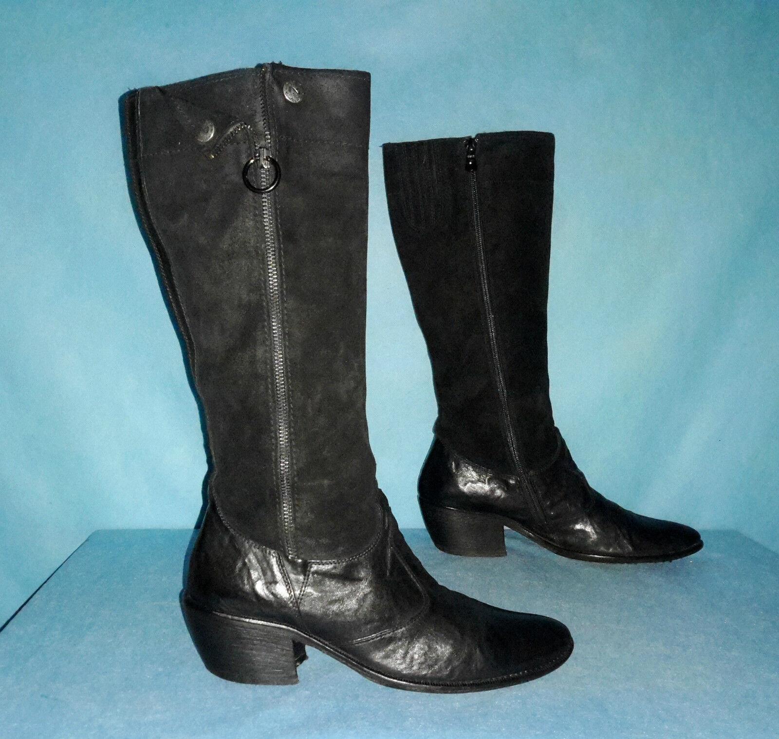 Stiefel NERO GIARDINI 100% schwarzes Leder Größe 38,5 FR