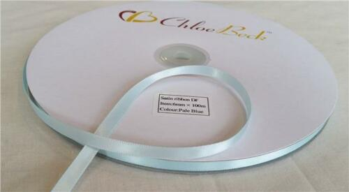 Double Sided Quality Satin Ribbon Craft Wedding 6mm 100m Roll 2m Reel Bows Sew