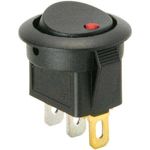 SPST Automotive Round Rocker Switch w//Red LED 12V