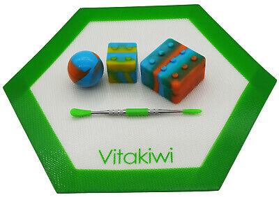 Vitakiwi Silicone Wax Carving Tool Kit 6ml 9ml 26ml Container Jar Hexagon Mat