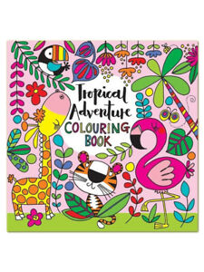 Tropical-Flamingo-Square-Children-039-s-Colouring-Book-by-Rachel-Ellen-Girl-Gift-Fun