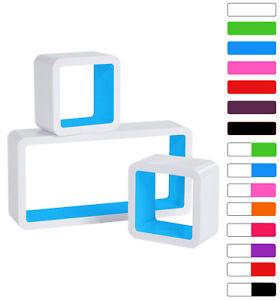 Lot-de-3-Etagere-murale-en-bois-MDF-etagere-CD-DVD-murale-Blanc-Bleu-FRG9229bl