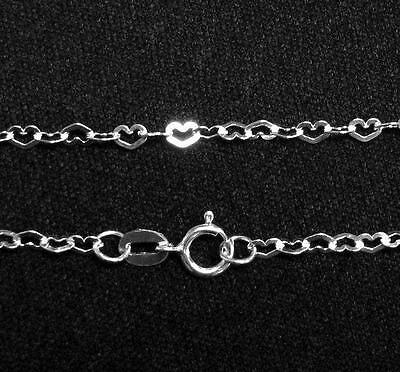 Sterling Silver Flat Heart Chain w/ spring clasp Different Length