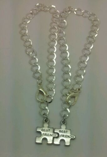 Best Friends Bracelet silver Plated charm and Chain BFF puzzle piece friend