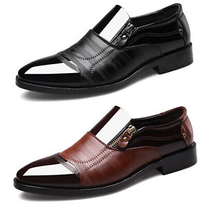Slip-On-Oxfords-Mens-Dress-Tuxedo-Formal-Shoes-Brogue-Pointed-Toe-Patent-Leather
