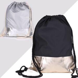 Metallic-Gold-Silber-Streifen-Rucksack-Turn-Beutel-Tasche-Gymbag-Grau-Schwarz