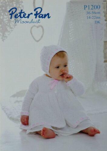 Tejer patrón bebés matiné Abrigo Sombrero /& Lace Chal DK Peter Pan 1200