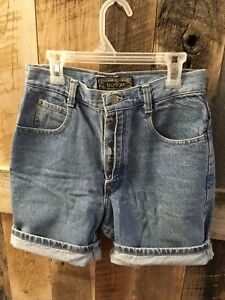 2bda098ff7 Bonjour Button Fly Jean Shorts Retro Vintage High-waisted Mom Jeans ...