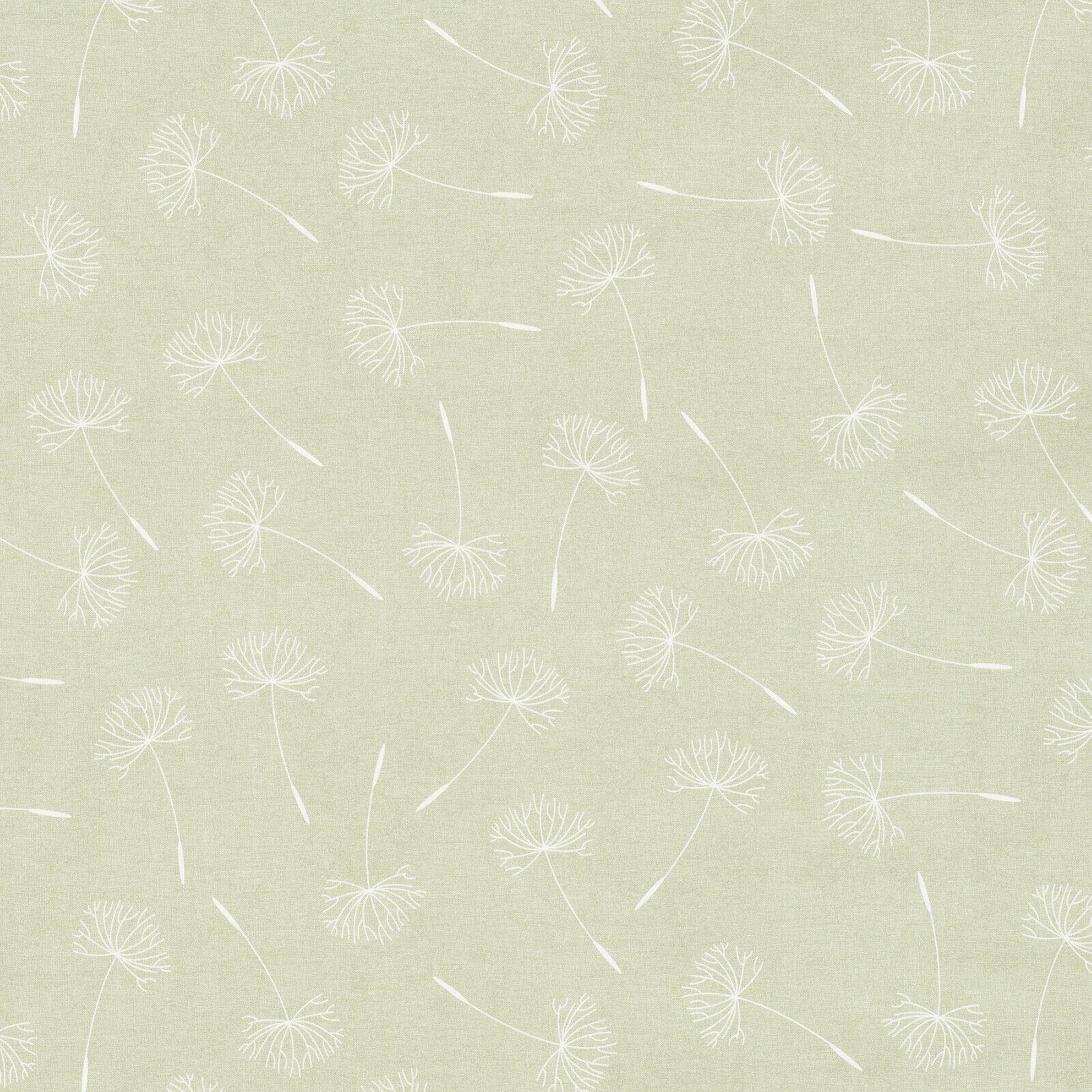 Sage Green Dandelion Leaf Floral Design PVC Vinyl Wipe Clean Tablecloth Cover
