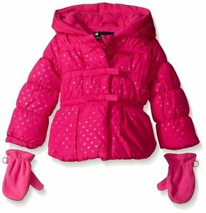 9af0d8d53b2f Baby Girls ROTHSCHILD Pink Bow Dot Puffer Jacket Coat with Mittens ...