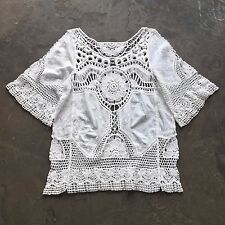 S New Anthropologie White Crochet Cut Out Lace Hippie Boho Tunic Blouse - Small