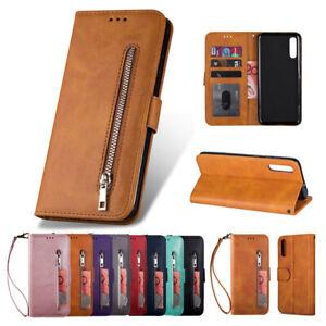 Pour-Samsung-Galaxy-A20e-A30-A40-A50-A70-Zipper-etui-Portefeuille-en-cuir-flip-Cover