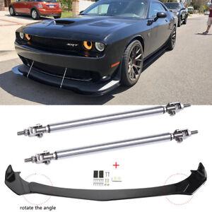 For Dodge Challenger SRT RT SXT Front Bumper Lip Spoiler Splitter +Strut Rods JQ