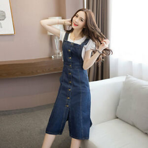 fe0fea3794 Women Denim Dungaree Overall Dress Long Cotton Jean Pinafore ...