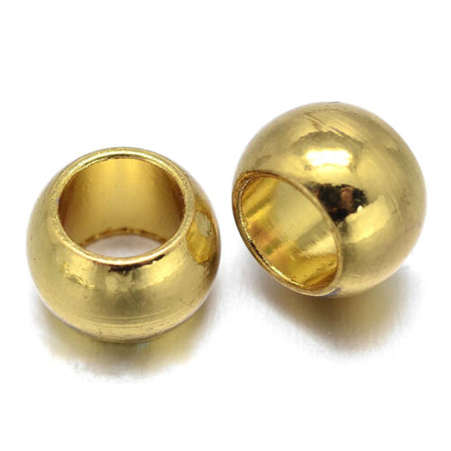 250pcs Smooth Brass Metal Beads Rondelle Large Hole Loose Spacer Beading 8x5.5mm