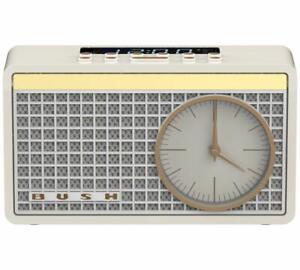 Bush-Classic-Retro-Analogue-Clock-Radio-Mains-or-Batteries-Cream-FM-Presets