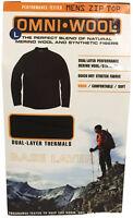 Omni-wool Mens Dual-layer Merino Wool Thermal Zip Top Black Baselayer