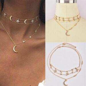 Femme-Multicouche-Bijoux-Cristal-Etoile-Lune-Pendentif-chaine-doree-collier-tour-de-cou