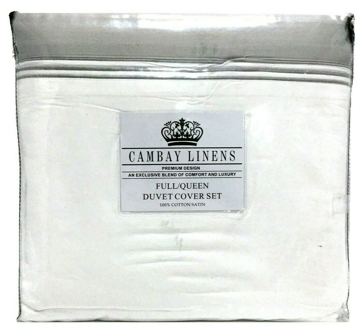 Cambay Linens 3 Piece Luxurious Cotton Satin Duvet Cover Set, Full Queen