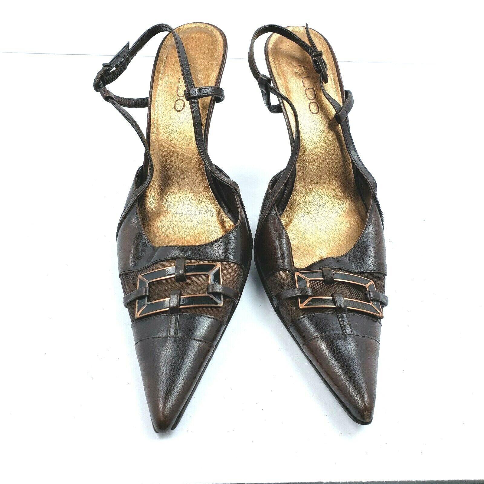 Aldo Womens Brown Leather Pointed Toe Stiletto Pumps Ankle Strap SZ EU 39 Us 8.5