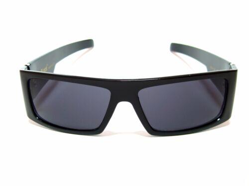 Locs Mens Sunglasses Skull Print Gloss Black Finish Square Wrap Around Frame