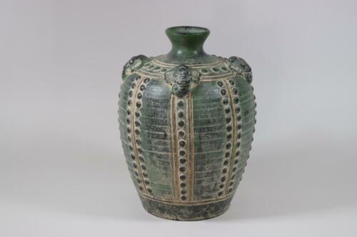 RK125 Thailändische Vase Keramik mit Elefanten Köpfen verziert