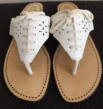Womens THE LEATHER COLLECTION White Thong Flip Flop Sandals Lace Up Look SIZE 7