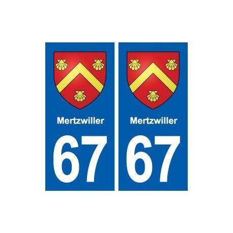 67 Mertzwiller blason autocollant plaque stickers ville -  Angles : droits