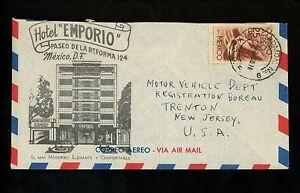 Postal History Mexico Scott #C141 Airmail Hotel Advertising 1946 Trenton NJ USA