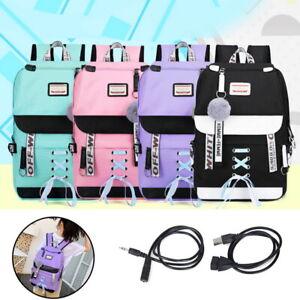 Women-Girl-Waterproof-Travel-School-Bags-USB-Charge-Laptop-Backpack-Rucksack-SH