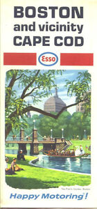 1968 esso boston cape cod vintage road map public garden on cover ebay Boston public garden map