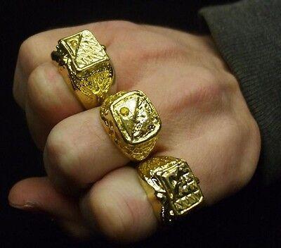 70s 80s Fancy Dress Gold Coloured Metal Ring Del Bling Pimp New