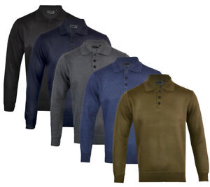 Mens Knitted Long Sleeve Plain Polo Button Down Top M 2XL