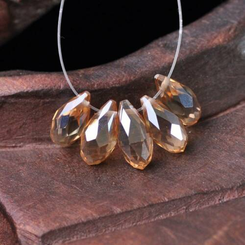 20pcs 12x6mm Faceted Teardrop Pendentif Crystal Glass Loose Beads Jewelry Making