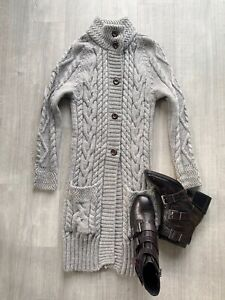 WOOLOVERS-Ladies-Long-Length-Cardigan-Size-S-Grey-Long-Sleeve-100-British-Wool