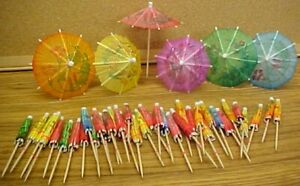 COCKTAIL-UMBRELLAS-lot-of-90-paper-parasol-toothpicks-drink-Party-DECoRATioN-NEW