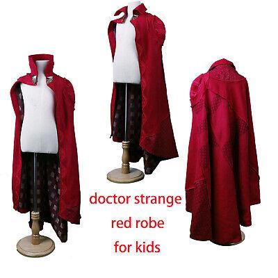 Steve Boys Red Robe Superhero Costumes New Cosplay Doctor Strange Kids Cloak Dr