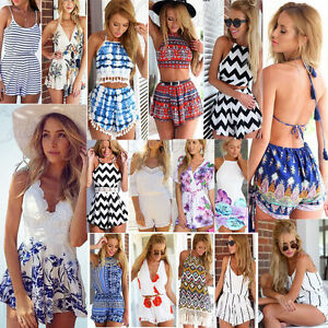 f18d8c41a1bc UK New Womens Holiday Mini Playsuit Ladies Jumpsuit Summer Beach Dress Size  6-14