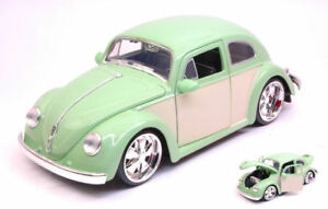 Volkswagen-VW-Beetle-1959-Light-Green-Cream-1-24-Model-JADA-TOYS