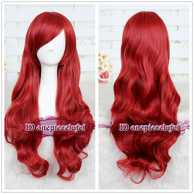 THE LITTLE MERMAID ARIEL Curly Wave RED WIG cosplay wig CC11B +a wig cap