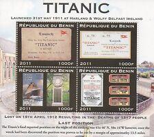 """TITANIC OCEAN LINER DISASTER 6"""" x 5"""" REPUBLIQUE DU BENIN 2011 MNH STAMP SHEETLET"""
